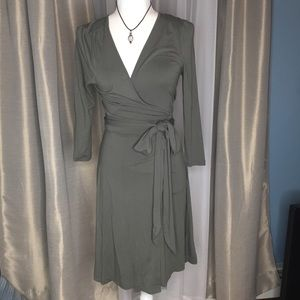 Banana Republic Wrap Tie Waist Olive Green Dress
